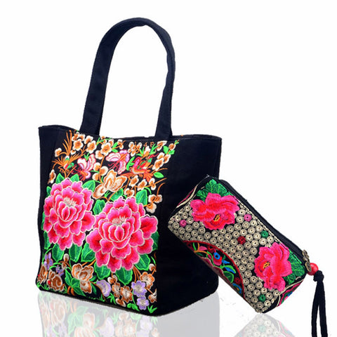 2pcs New Original ethnic embroidery hand bag +small wallet