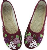Vintage Embroidered  Flats Flower Slip On Cotton Fabric