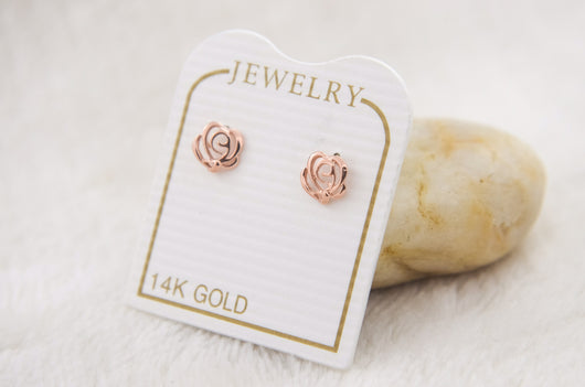 Pink Rose Flower Stud Earrings