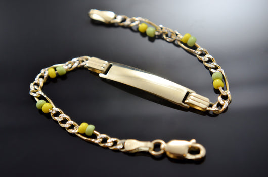 Ilde Yoruba ID Baby Bracelet / Yellow - Green Glass