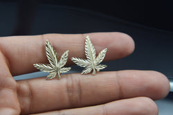 Large Marijuana Leaf Plant Earrings