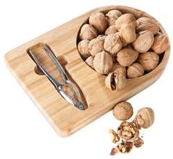 Bamboo Nut Tray with Nutcracker