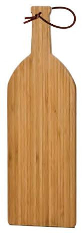 Bamboo Cutting Board, Medium (Wine Bottle Shape) with Leather strap
