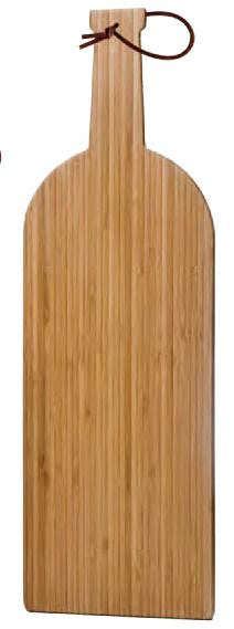 Bamboo Cutting Board, Large (Wine Bottle Shape) with Leather strap
