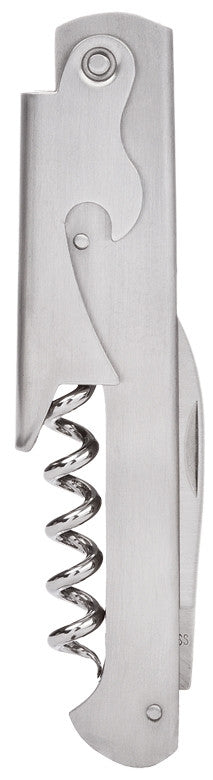 Straight Brushed Stainless Steel Corkscrew