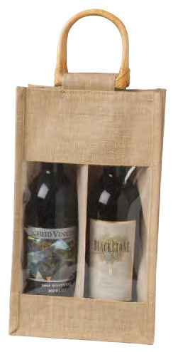 Jute Vino-Sack with Window, Two Bottles (out of Stock until November)