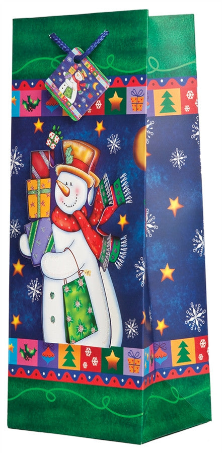 Pop-Up Frosty the Snowman Wine Gift Bag