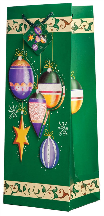 Pop-Up Joyous Christmas Bulbs Wine Gift Bag
