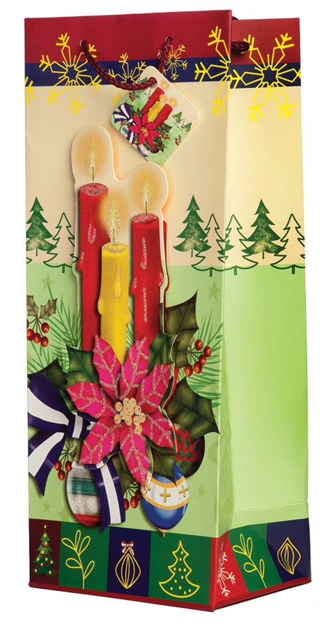 Pop-Up Poinsettia Candles Wine Gift Bag