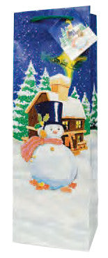 Frosty Eve  Paper Holiday Wine Bag