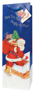 Santa On His Way  Paper Holiday Wine Bag