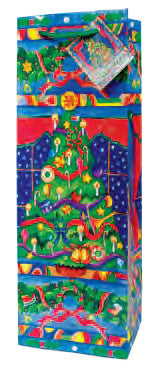 Christmas Tree  Paper Holiday Wine Bag