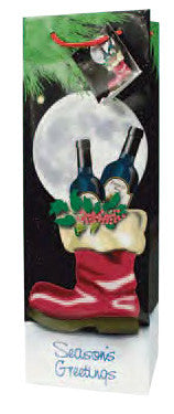 Season's Greetings  Paper Holiday Wine Bottle Gift Bag