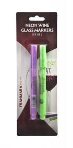 Neon Wine Glass Markers, Set of 2 (Purple & Green)