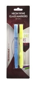 Neon Wine Glass Markers, Set of 2 (Yellow & Blue)