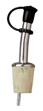 Bottle Pourer, Brass Nickel Plated, with Natural Cork