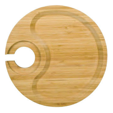 Round Party Plate With Built-in Stemware Holder, Bamboo