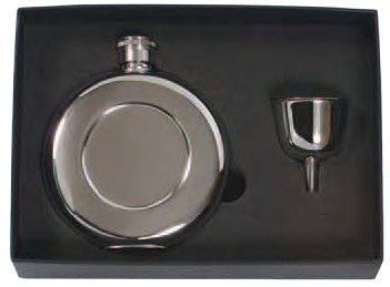 Round Pocket Flask Set, 4.5 oz. Stainless Steel