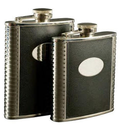 Deluxe Leather-Bound Captive-Top Pocket Flask, 6 oz.