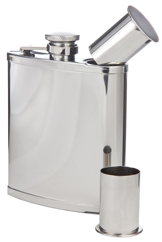 Double Shot Captive-Top Pocket Flask, 6 oz.