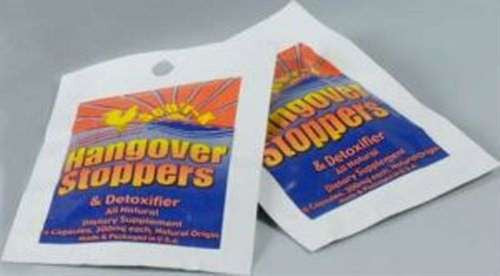 Two Hangover Stoppers Foil Packs (No. 8185) on Blister Card