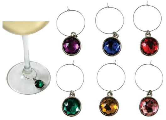 Wine Gem Charms (6-piece set) on blister card