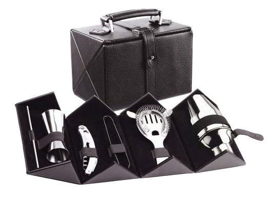 Cocktail Bar Set With Case (Includes Shaker, Jigger, S/S Corkscrew with bottle opener,