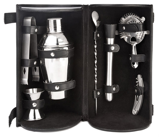 Barmaster's Pro Bar Travel Set- 8 pcs set (Includes Shaker, Jigger, Ice Tongs,