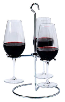 Trio Wine Flight Glass Holder, Stainless Steel