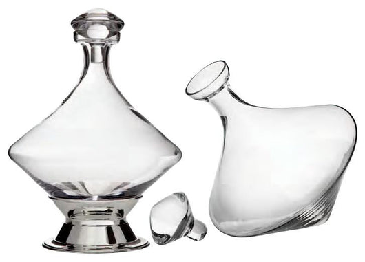 Orbital Decanter with Silver Plated Base and Crystal Stopper