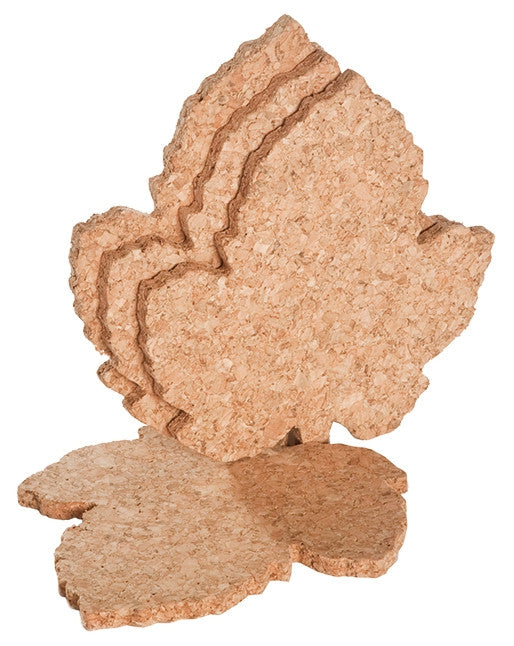 Cork Coasters, Grape Leaf shape , Set of 4