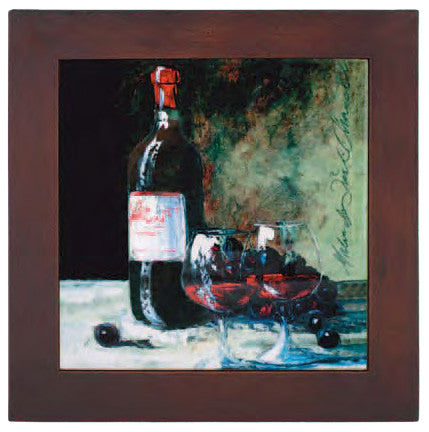Ceramic Trivet, Wine Bottle and Two Glasses Art Image