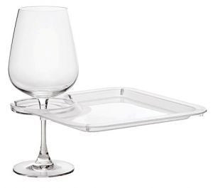 Square Party Plate With Built-In Stemware Holder (set of 4 in a box)