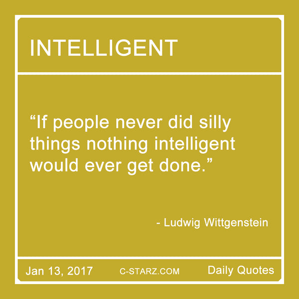 """If people never did silly things nothing intelligent would ever get done."" - Ludwig Wittgenstein"