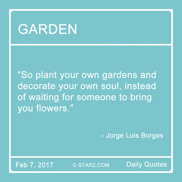 """So plant your own gardens and decorate your own soul, instead of waiting for someone to bring you flowers."" - Jorge Luis Borges"