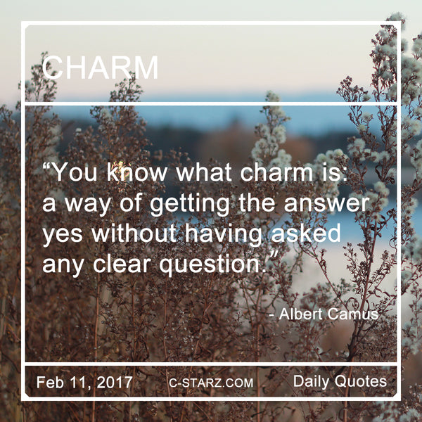 """You know what charm is: a way of getting the answer yes without having asked any clear question."" - Albert Camus"