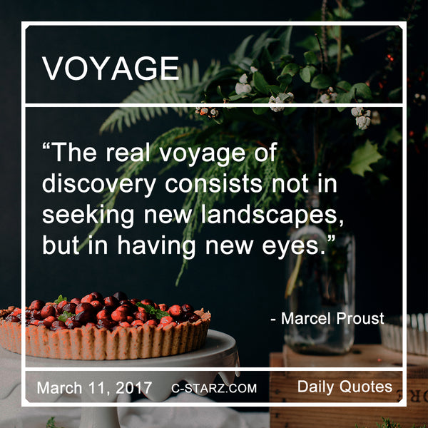 """The real voyage of discovery consists not in seeking new landscapes, but in having new eyes.""- Marcel Proust"