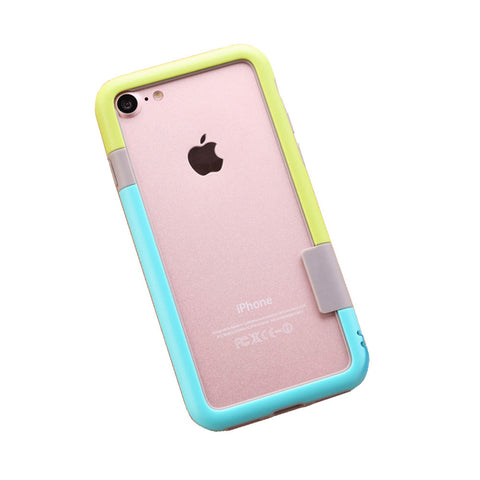 Color Combo iPhone 7 Frame Case (Green & Blue) Urban Style Accessory For Creative Design Art Lovers