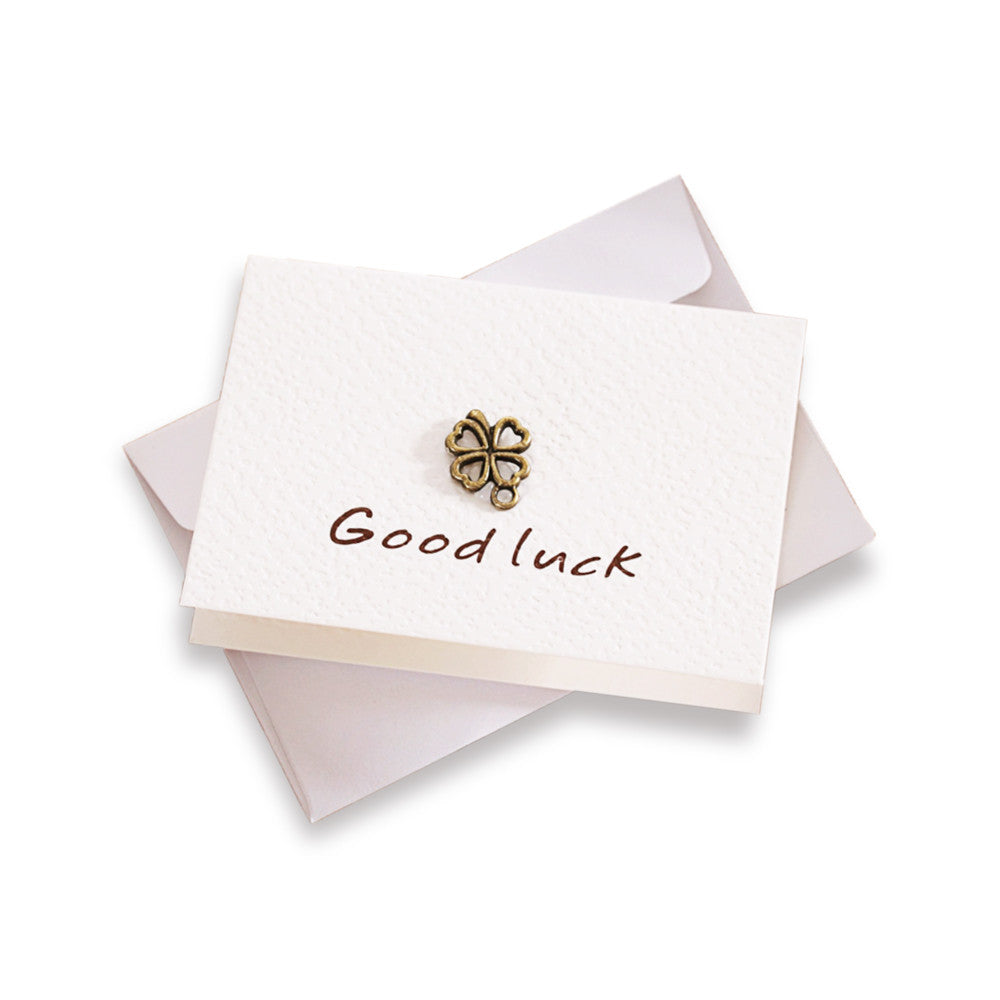 "Mini ""Good Luck"" Greeting Card With Vintage Brass Decoration"