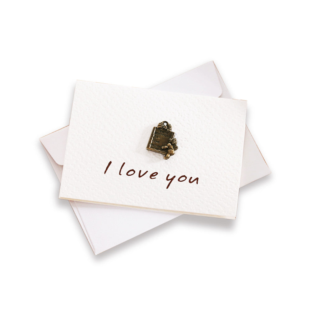 "Mini ""I Love You"" Greeting Card With Vintage Brass Decoration"