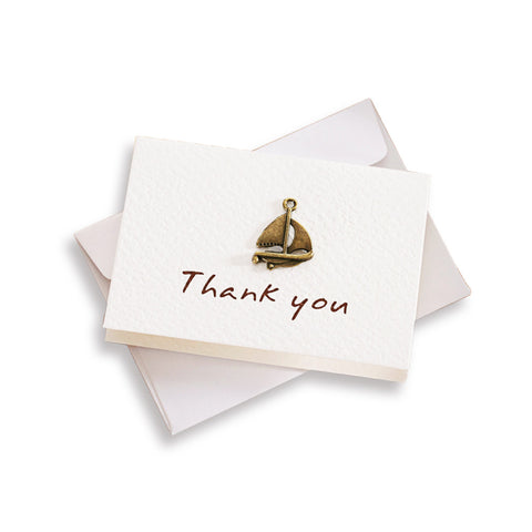 "Mini ""Thank You"" Greeting Card With Vintage Brass Decoration"