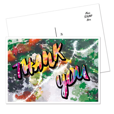 "Splattered Colors ""Thank You"" Postcard (Green)"