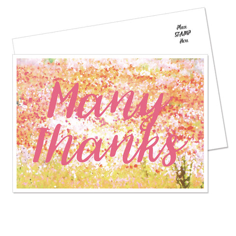 "Blossom ""Many Thanks"" Postcard (Pink)"