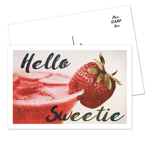 """Hello Sweetie"" Postcard (Strawberry)"