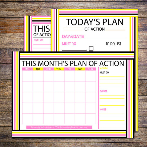 """Plan Of Action"" Printable Planner Set (Summer)"