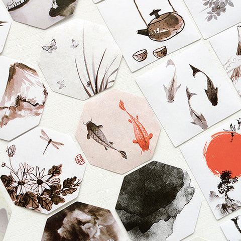Traditional Chinese Painting Collage Sticker Set (45 pcs)