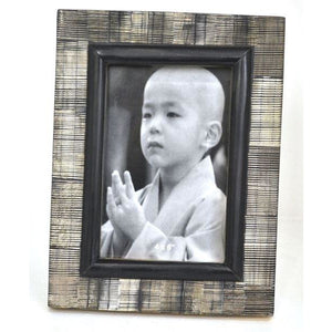 Photo Frame Black Horn with Stripes (Black and Cream)