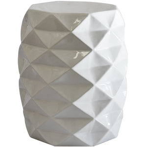Facet Stool Ceramic White