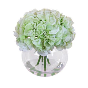 Faux Hydrangea Green Arrangement in Vase