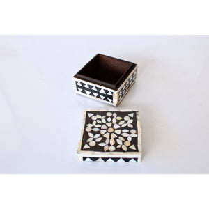 Mother of Pearl and Black Square Box (Med)